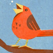 A red bird sits on a branch and sings