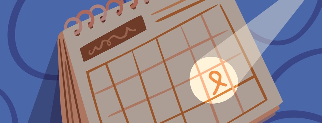 Calendar with a spotlight shining on a day marked with a cancer ribbon